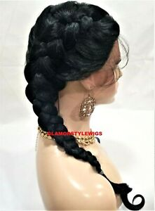 HUMAN HAIR BLEND LACE FRONT FULL WIG MIDDLE PART LONG BRAIDED OFF BLACK #1B NWT