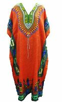 Nouvelles Femmes Orange Africain Robe Dashiki Robe Maxi Robe De Taille Unique