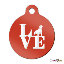 Love Pit Bull Engraved Keychain Round Tag w/tab park alert v2 Many Colors