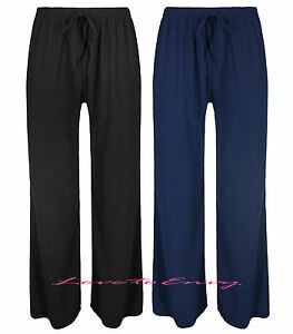 Plus Size Womens Ladies Palazzo Trousers Flared Loose Wide Leg Pants Sizes 10-26