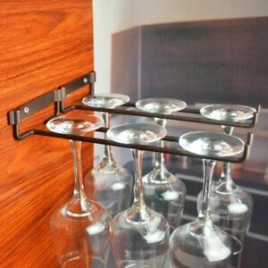 Wall Mounted Wine Rack Single Glass Stemware Goblets Holder For Kitchen Cabinet
