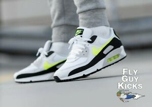 Authentic Nike Air Max 90 Black Hot Lime CZ1846-100 White Grey Neon Green