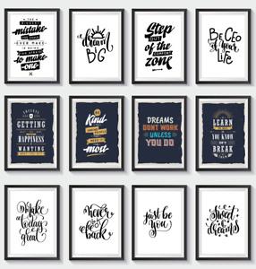 Motivational Quotes Print Inspirational Poster Wall Art Home Décor A5 A4 A3
