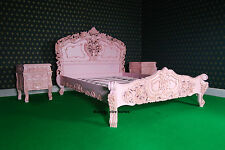 > BEDROOM SET < ANY SIZE SUPER, KING Double White Black cream French ROCOCO bed