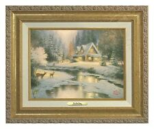Thomas Kinkade - Deer Creek Cottage – Canvas Classic (Gold Frame)