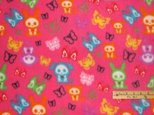 Skelanimals Skel Animals Pink Butterfly Fleece Fabric by the Yard  #SK-0016-0A