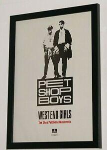 PET SHOP BOYS Framed A4 1985 `west end girls SINGLE original band promo poster