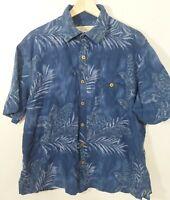 Island Republic Hawaiian 100% Silk Short Sleeve Button Down Shirt Size Large