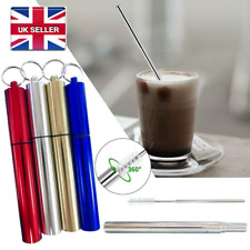 Telescopic Straw Reusable Straw Collapsible Straw Metal Straw + Brush & Case UK
