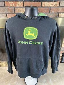 JOHN DEERE Green Work Farm Tractor Hooded Sweatshirt Mens XL Bleached Distressed