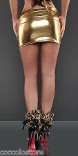 MiniGonna Aderente Dorata in Tessuto Metallico Lucido WetLook PVC Latex Look ORO