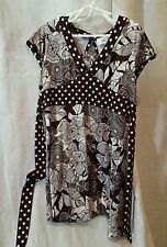 ALLY B Brown & White  Floral & Polkadot Babydoll Dress GIRLS 8 -10