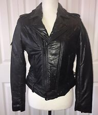 THE KOOPLES MOTORCYCLE JACKET WRINKLE WASHED LEATHER sz2 XS NWT$1,200 #FCU1113