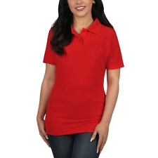 Ladies Polo Shirt Short Sleeve Womens Plain Pique Classic Top T Shirt Lot 22 - 24 Red 1 Shirt
