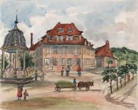 BAD KISSINGEN LANDSCAPE GERMANY Victorian Watercolour Painting 1883