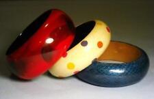 3 Vintage Wooden Bangle Bracelets - (1 Faux Snakeskin Design) - great condition