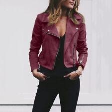 Fashion Women Ladies Rivet Zipper Up Bomber Jacket Casual Coat Outwear Top Loose