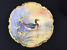 "Antique Limoges Porcelain Handpainted Plate Duck Game Charger Artist Bardon 11"""
