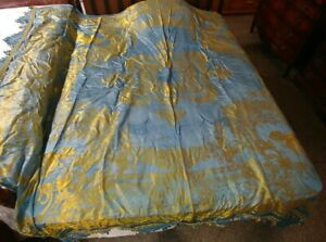 """VINTAGE SILK(?)GOLD BLUE COLOR BEDSPREAD COVERLET Made In Italy 102"""" x 91"""""""