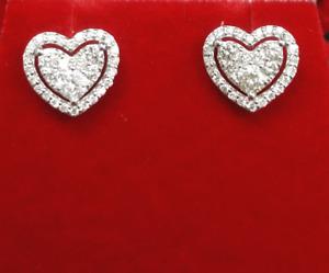 DEAL!0.55 CT Genuine Cluster Diamonds Heart Halo Studs Earrings 14K Gold 8MM