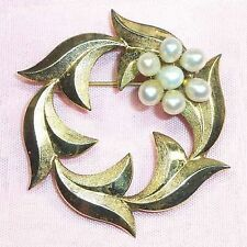 CATAMORE Goldfilled Pin, 7 real pearls filled gold antique/vintage B37