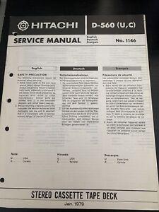 Original Hitachi D-560 Stereo Cassette Tape Deck Service Manual