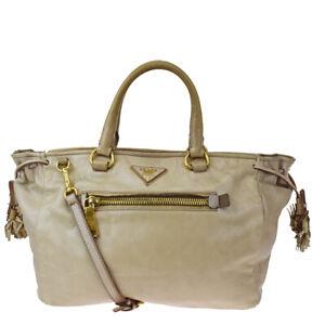 Authentic PRADA MILANO Logo 2Way Shoulder Hand Bag Leather Pink Beige 60MG989