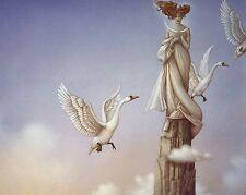 Michael Parkes CRESCENT MOON redhead goddess swans surreal fantasy art print