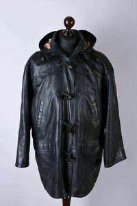 Burberrys London Vintage Duffle Style Leather Hooded Jacket Size L - XL