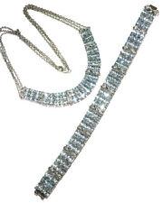 925 Sterling Silver Oval Aquamarine Diamond Wide Tennis Bracelet & Necklace Set
