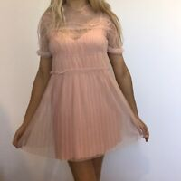 Topshop pink tulle pleated babydoll dress w ruffles, Auguste slip incl, size S