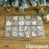 12PCS Christmas Snowflakes Wooden Xmas Ornaments Home Party Hanging Decor Craft