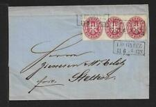 PRUSSIA GERMANY strip x3  cover 1868