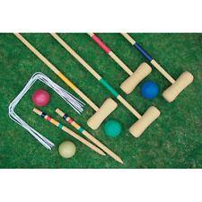 CROQUET SET ADULT SIZE 4 PLAYER GARDEN LAWN GAME WOODEN MALLET BALLS BBQ FUN