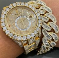 14k Yellow Gold Plated Men's Cuban Link Round & Baguette Sim Diamond Bracelet