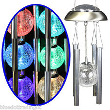 USSELLER BlueDot® Solar Powered Color Changing Glass Ball Wind Chime Aluminum