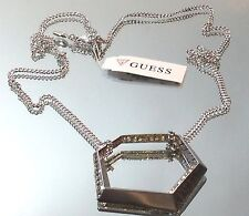 Guess Brand Signed Large Pendant w/ Crystal Long Silver Chain Necklace NWT $28