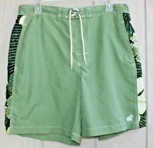 Caribbean Joe Men's Swim Trunks Green Hawaiian Print Size Medium M Shorts