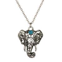 Pendentif Eléphant Couleur Argenté Style Bohème Bijoux Collier Femme Turquoise