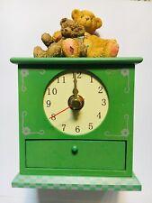 Brand New Very Rare Cherished Teddies 834130 Two Friends Mantel Clock Drawer !