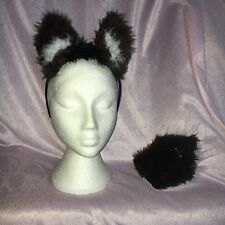 DEER Ears And Tail Set WOODLAND Dark Brown/White Faux Fur Fancy Dress