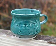 Hand Made Green Bamboo Pottery Wheel Art Coffee Mug Cup Signed Bridge Island