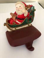Vintage Santa Cast Iron Christmas Stocking Holder Hanger