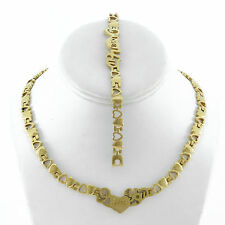 """STAINLESS STEEL I LOVE YOU GOLD TONE HEART NECKLACE BRACELET SET XO STAMPATO 18"""""""