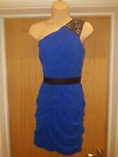 Lipsy Embelished One Shoulder Fitted Dress Royal Blue Navy  8 10 Holiday Cruise