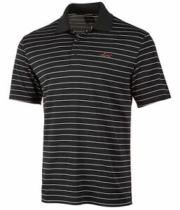 Greg Norman Mens Striped Rugby Polo Shirt, Black, Large