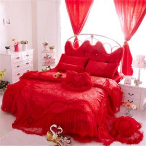 wedding bedding set 4pcs cotton lace princess bed skirt duvet cover pillowcases