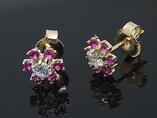 585 Gold Ohrstecker 6,5 mm 12 echte Rubine und Zirkonia Steinen 1 Paar