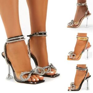Women Sandals PVC High Heels Rhinestone Bowknot Ankle Buckle Strap Pumps Shoes