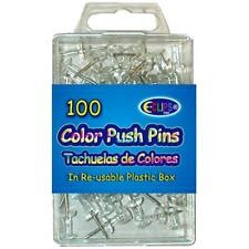 Push pins, Clear, 100 ct., Reusable Box, Case Pack of 48